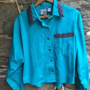 Nuovo Western And Aztec Turquoise Button Down L